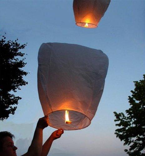 20 White Flying Lanterns