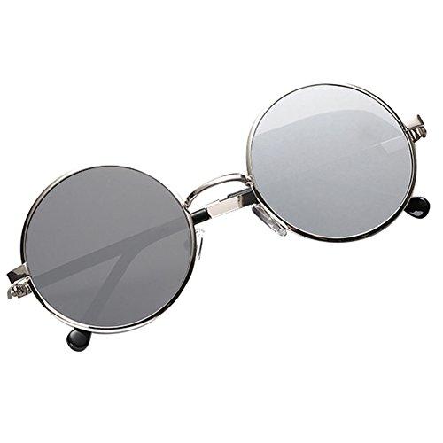 Metal Mercurio Lentes Espejo Retro Highdas De Mujeres blanco Marcos Plata Redondas Gafas Hombres De Vintage Sol vAxPZzv