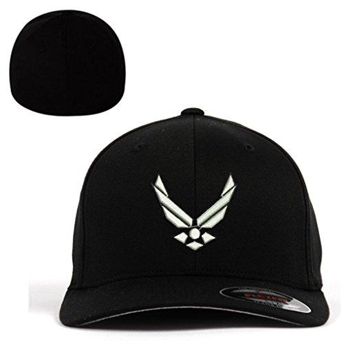 Airforce Wing Flexfit Baseball Cap Military Hat Black (Air Force Logo Cap)
