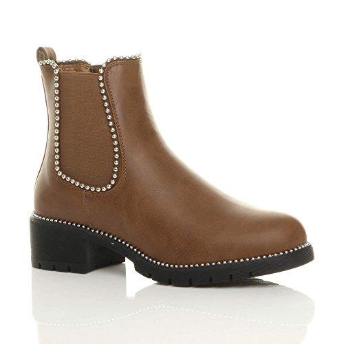 Ajvani Womens Ladies Low Block Heel Studded Elastic Chelsea Riding Ankle Boots Size Camel Tan Matt
