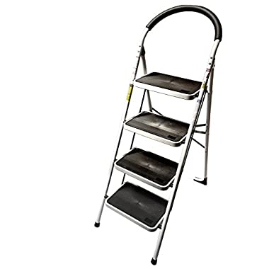 LavoHome 330lbs Upper Reach Reinforced Metal Folding Step Ladder Stool Household Kitchen Use (Four Step Ladder)