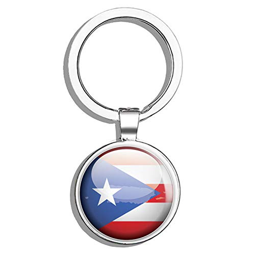 Puerto Rico Glossy Flag Map Label Round Stainless Steel Metal Key Chain Keychain Ring Double Sided Deisgn