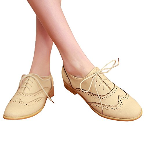 Dotacoko Dames Geperforeerde Vetersluiting Comfortabele Lederen Platte Oxfords Vintage Oxford Schoenen Beige