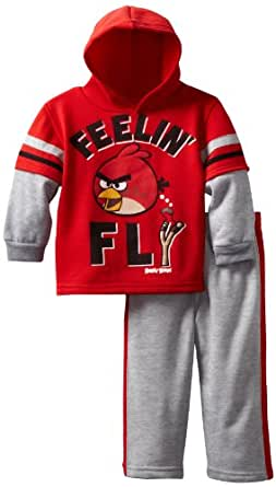 Angry Birds Little Boys' Toddler Fly Birdy 2 Piece Hoodie Set, Red, 2T