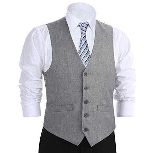 Chama Men's Formal Classic Fit Business Dress Suit Button Down Vest Waistcoat (38 Regular, Light Grey) (Men Mens Suits Vests)