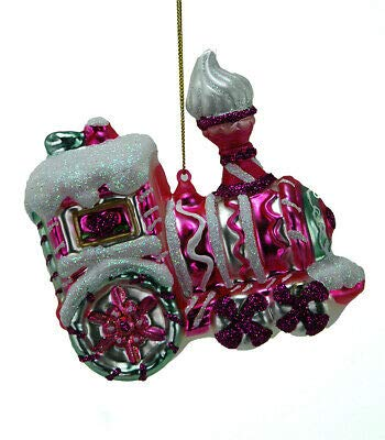 (Katherine's Collection 22-524716 Candy Christmas Train Glass Ornament Pink)