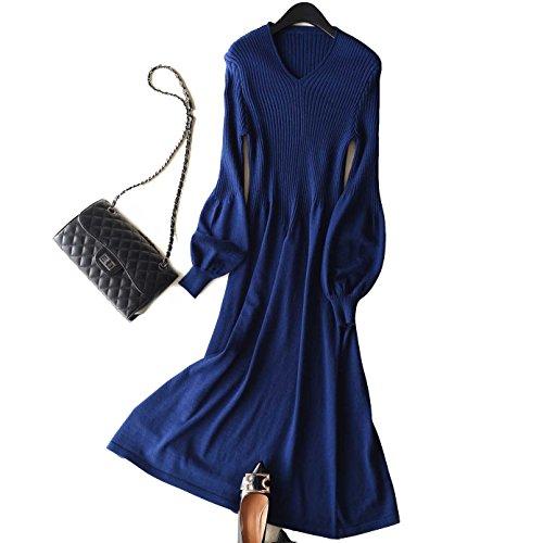 FINCATI Spring Dresses Women Cashmere Blending V Neck Lantern Sleeve Midi Length (Dark Blue)