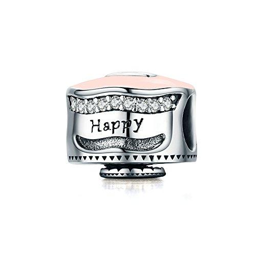 Everbling Happy Birthday Celebration Cake 925 Sterling Silver Bead Fits European Charm Bracelet (Happy Birthday Cake Pink Enamel)