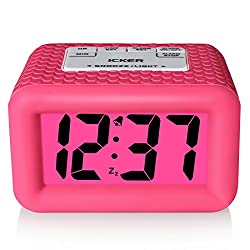 iCKER Alarm Clock with Backlight and Snooze, Smart Light with Dimmer, Battery Operated Travel Alarm Clock, Pink