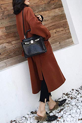 M Fuweiencore colore In Dimensione E Cappotti Kimono Invernale Marrone Lana Tasche Cardigan Con Uomo Per 6q6UZFr