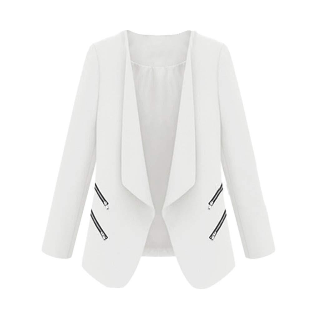 BCDshop Womens Work Office Jacket Blazer Drape Open Front Lightweight Thin Zipper Coat