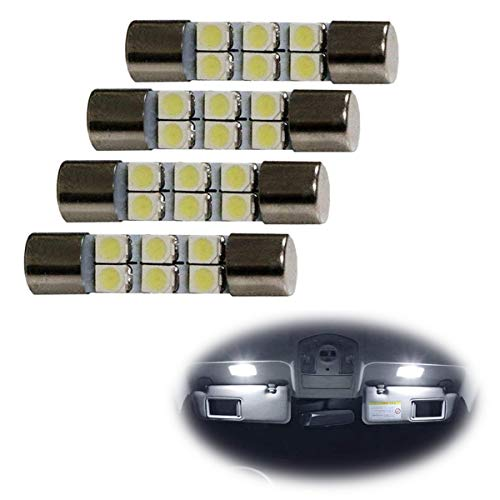 iJDMTOY 4pc White 6-SMD 29mm 6614 LED Replacement Bulbs For Car Sun Visor Flips Vanity Mirror (Best Sts Ts Mirrors)