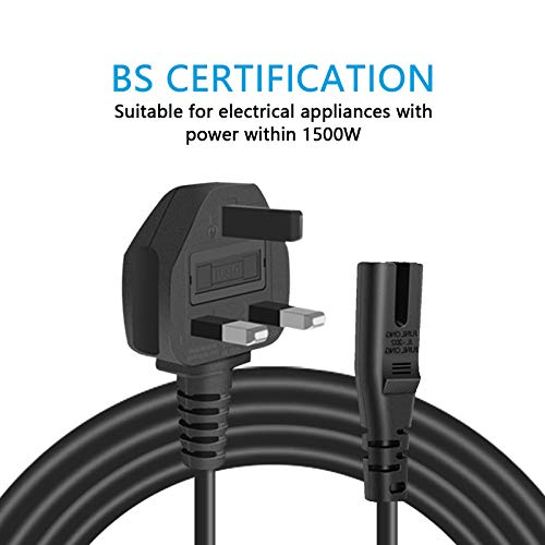 AC Power Cable Fig 8,Cshare 2 Pin Mains Power Lead IEC C7 Plug Power Cord Compatible with Samsung,Dell,Panasonic,Sony,HP,LED LCD Smart TV Monitor,Printer,Surface,Philips,LG UK Wall Cord (1.2m)
