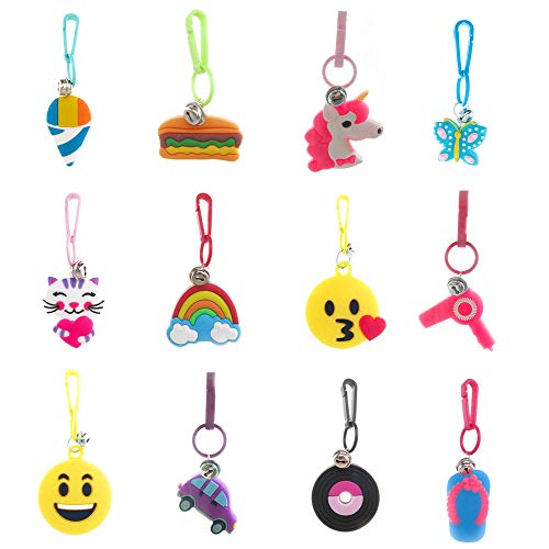 (Party Favors for Kids,Boys,Girls 12 PCs Assorted Pack-Retro Backpack Keychain Charms w/Clips and Tiny Bells )