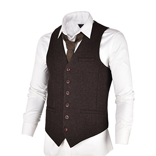 VOBOOM Men's Slim Fit Herringbone Tweed Suits Vest Premium Wool Blend Waistcoat (Coffee, S) Brown Wool Suit