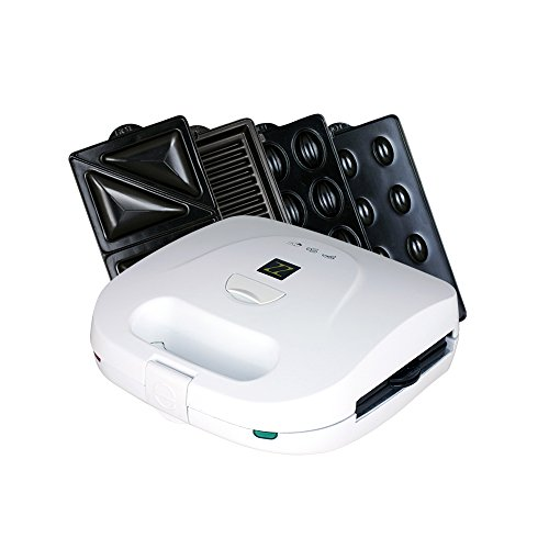 ZZ S6161-W 4 in 1 Grill Griddle Olive and Sandwich Maker with 3 Sets of Detachable Non-stick Plates,White