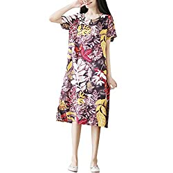 Orchidamor Women New Summer Printing Loose Plus Size Round Neck Pocket Casual Trend Dress Purple
