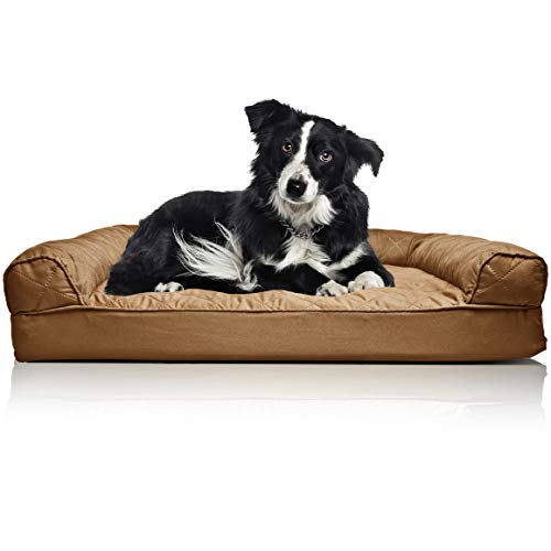 FurHaven Pet Dog Bed | Orthopedic Quilted Sofa-Style Couch Pet Bed for Dogs & Cats, Toasted Brown, Large