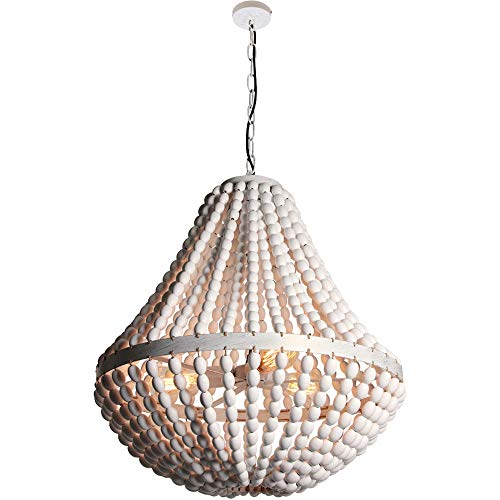 Wereal Wood Bead Chandelier White Finished Light Pendant Fixture Rustic Antique 3-Light Ceiling Lamp for Kitchen, Living Room, Bedroom