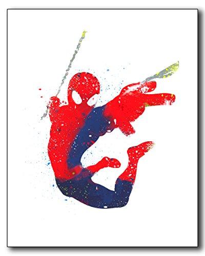 Spiderman Watercolor Photo Print - single 8x10