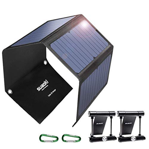 SUAOKI Quick Charge 3.0 Portable Solar Charger 28W SUAOKI Foldable Solar Panels Sunpower 3-port USB Phone Charger Compatible with Cell Phone iPhone iPad Samsung Laptop Tablet and more