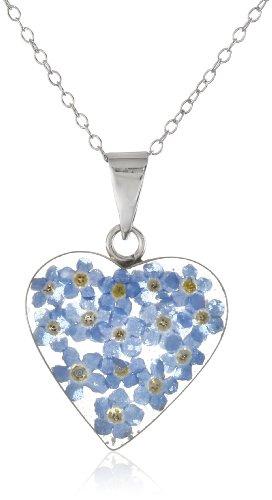 Sterling Silver and Pressed Flower Heart Pendant Necklace, 16""