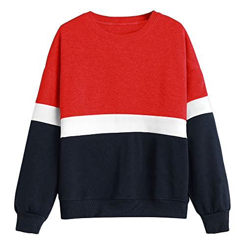 ZAFUL Women Fashion Sweatshirt Tricolor Plain Pullover Long Sleeve Casual Outwear(Red,2XL) ()