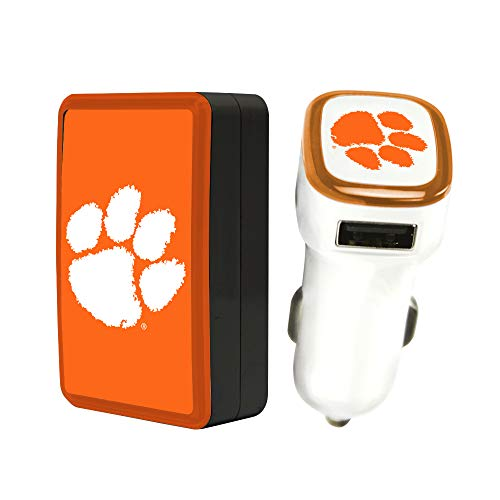 Quickvolt Clemson Tigers Wall Charger/Car Charger Pack