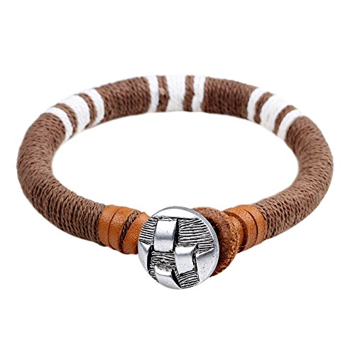Winter's Secret Brown Rope Fashion Handmade Winding Leather Cord Unisex Lover Button Wrist Bracelet