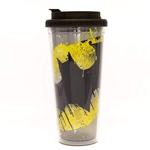 DC Comics BN11108M Batman Splatter Paint Logo Double Walled Plastic Travel Mug, 24-Ounce, Black and ()