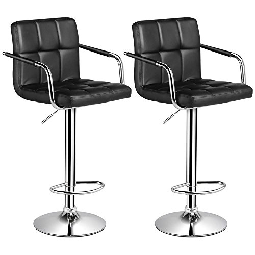 Gas Lift Swivel Stool - Yaheetech Bar Stools Set of 2 Black Adjustable Counter Stools Bar Chairs Synthetic Leather Modern Design Swivel Barstools Gas Lift Stools for Kitchen Counter 360 Degree Swivel Seat Top