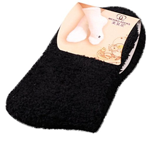 Collection Winter Liners (Clearance! Leyorie Hot Sell Home Women Soft Bed Floor Socks Pure Color Fluffy Warm Winter Sox (Black))