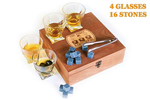 Whiskey Glasses and Stones Gift Set in Premium Wooden Presentation Box - 4 Extra Large Glasses, 16 Chilling Stones, Ideal Gift for Men, Fathers Day, Brother Gift (9.9) ()