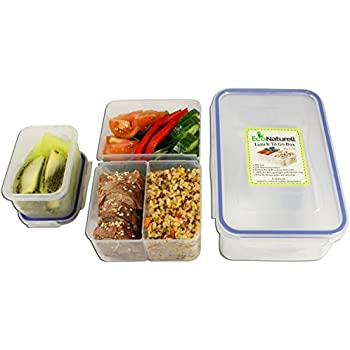 Airtight Bento Lunch Box Containers Kids & Adults; Leakproof Meal Prep Container with 3 Removable Compartments + Snack/Soup Container; BPA Free Reusable Portion Control; Food storage Container