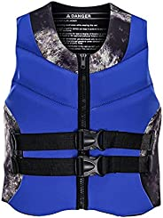 MOKINGTOP Life Jackets for Adults, Water Sports Fishing Vest with Drainage Holes for Adults Boating Kayaking S