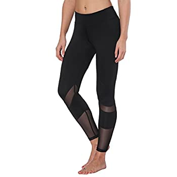 Feivo Yoga Pants, Women's Power Flex Yoga Pants Tummy Control Workout Yoga Capris Pants Leggings,mesh-black2,small 1