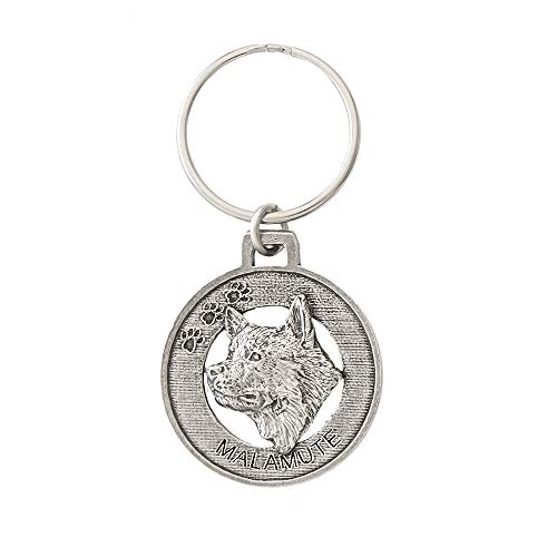 Malamute Dog Pewter Key Chain, Key Fob, Key Ring, Gift, D118KC ()