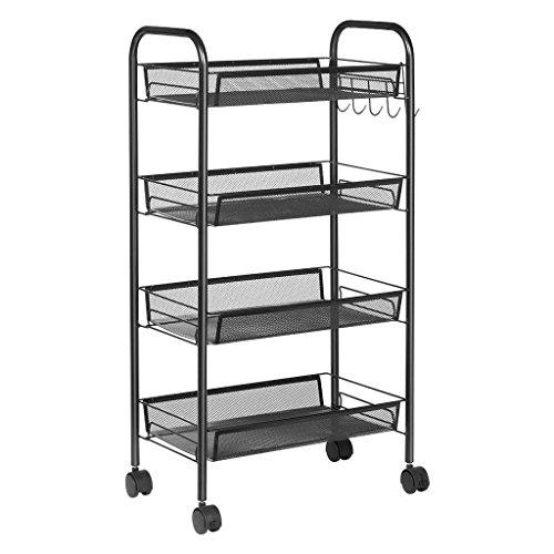 Clock Etagere - Metal Mesh 4 Tier Mobile Storage Utility Cart Organizer Kitchen Island, Black