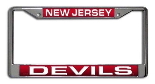 - Rico Industries NHL New Jersey Devils Laser Cut Inlaid Standard Chrome License Plate Frame