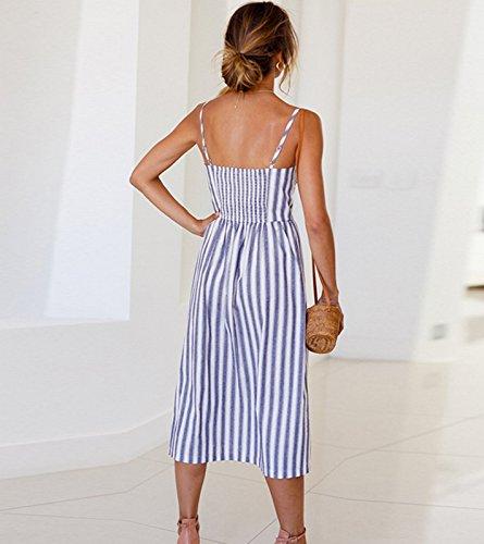 Donne Floreale Stripe0825 Vestito Bellezza7 Midi Stampa Backless Estate Cinghia Spiaggia Pulsante Casual wdaqPI6P