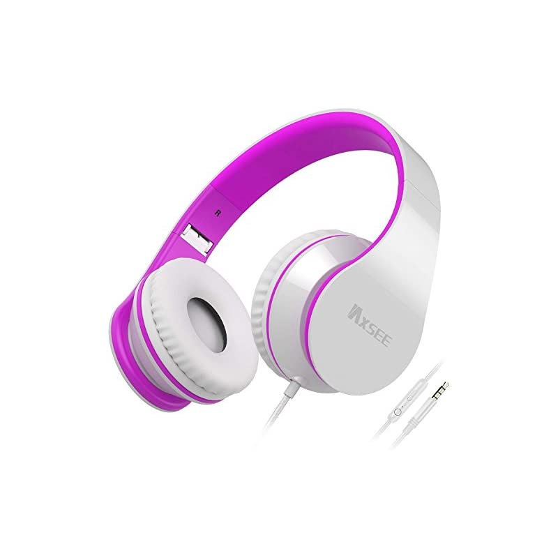 IAXSEE I70 Headphones with Microphone and Volume Control Portable for Girls Stereo Lightweight Adjustable Headsets for iPad iPod Android Smartphones Laptop Mp3(White Purple)