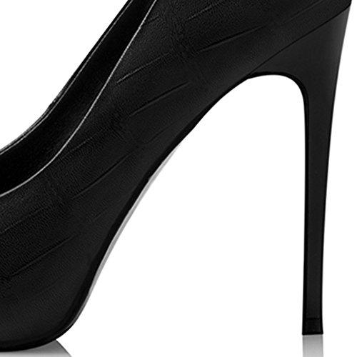 Talons Stiletto Mariage Dîner Couleur Travail Party Eté hauts Femmes taille Pointu Talons PU Blanc Confortable UK5 02 Printemps NAN Noir 5 CN38 Chaussures 01 EU38 PvpxzPf
