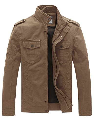 WenVen Men's Casual Cotton Military Jacket (Khaki 1, Medium)