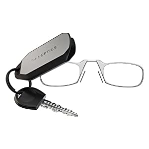 ThinOptics Reading Glasses + Keychain Case | Clear Frames, 1.00 Strength