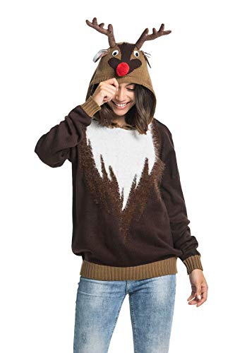 Unisex Women's Ugly Christmas Sweater Hoodie Funny Knitted Fur Reindeer Pullover Sweatshirt - Real Reindeer Wear Fur, ()
