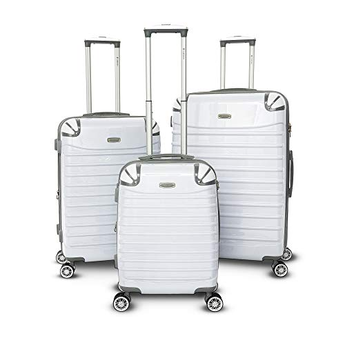 Gabbiano Vintage Collection 3 Piece Spinner Luggage Set (White) Collection 3 Piece Luggage Set