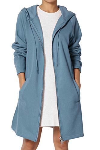 TheMogan Women's Hoodie Oversized Zip Up Long Fleece Sweat Jacket Titanium 3XL ()