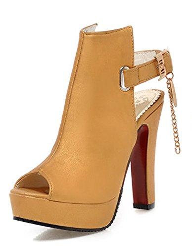 Jaune Lanière Peep Toe Boucle Sandales Sexy Aisun Femme X0gwqx7wO