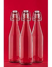 slkfactory, beugelfles, 250 ml, flesje met beugelsluiting, lege glazen fles met beugelsluiting, wijnfles, jeneverfles, fles met clipsluiting, 0,25 liter, nr. 200 ml