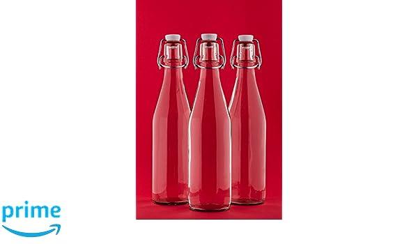 slkfactory 6 vacías Botellas de Vidrio con Cierre hermético 500 ml ...